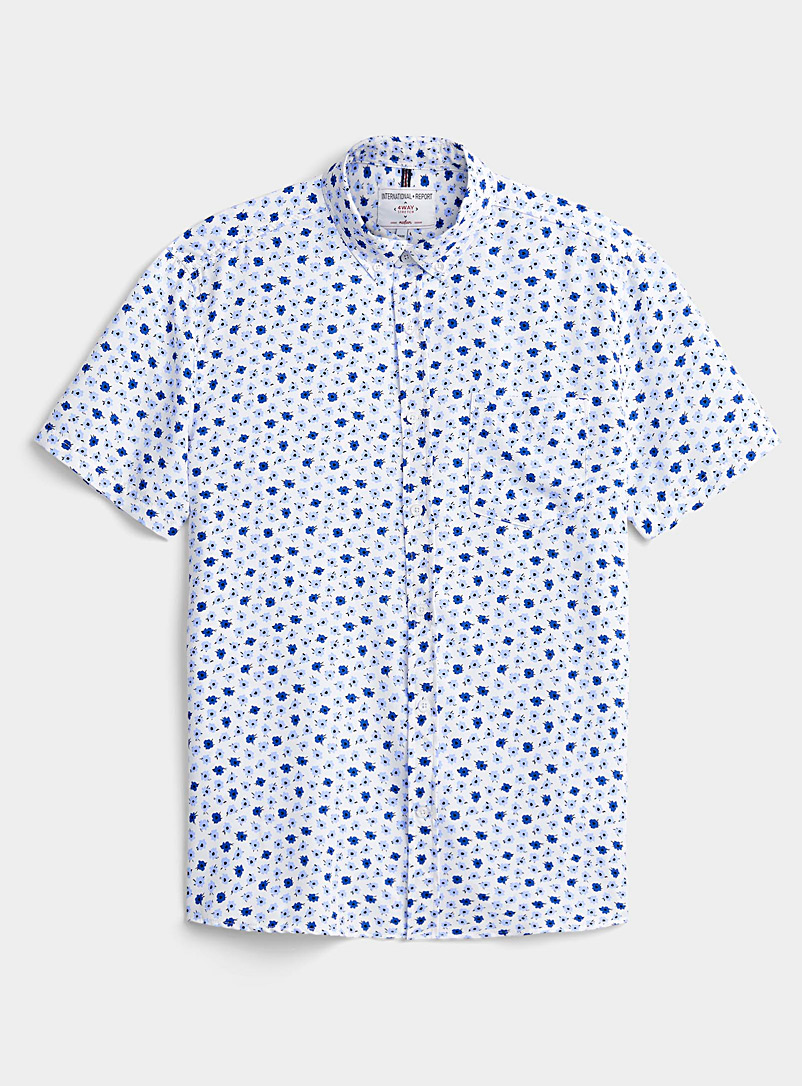 Report Collection Blue Blue floral shirt Comfort fit for men