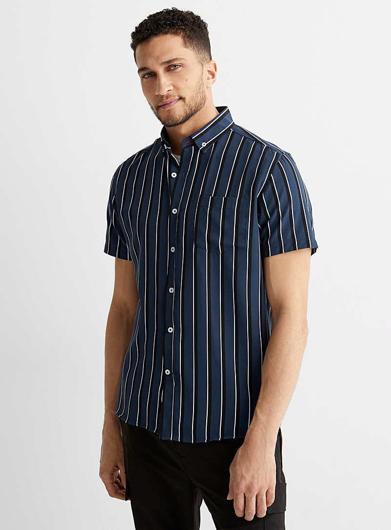 Report Collection Marine Blue Contrast stripe shirt Comfort fit for men