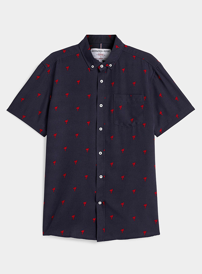 Report Collection Marine Blue Red flamingo shirt for men