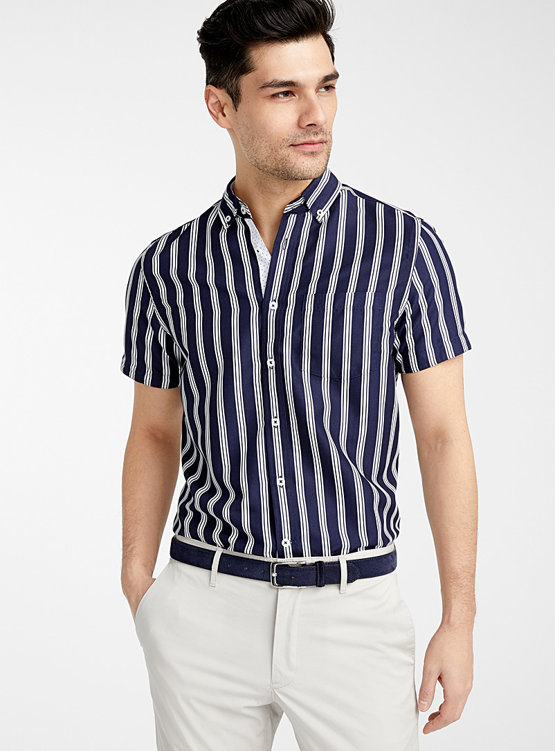 Report Collection Marine Blue Vertical stripe shirt  Comfort fit for men