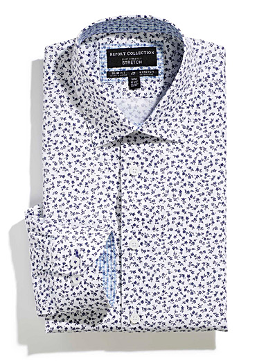 Small indigo flower shirt  Slim fit
