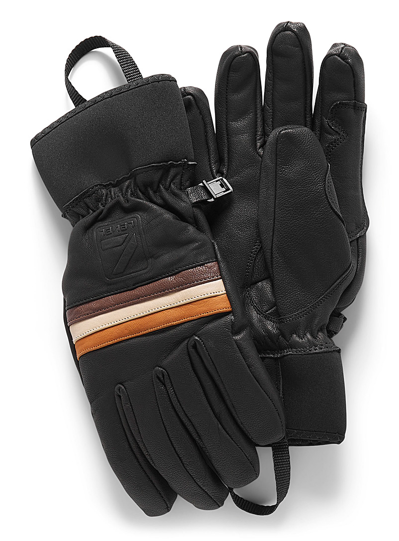 Level Black Seventies leather gloves for men