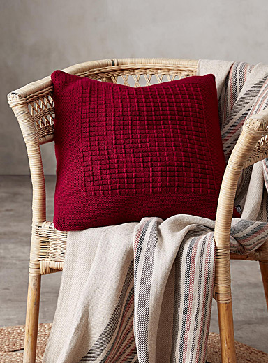 Checkered knit cushion <br>45 x 45 cm