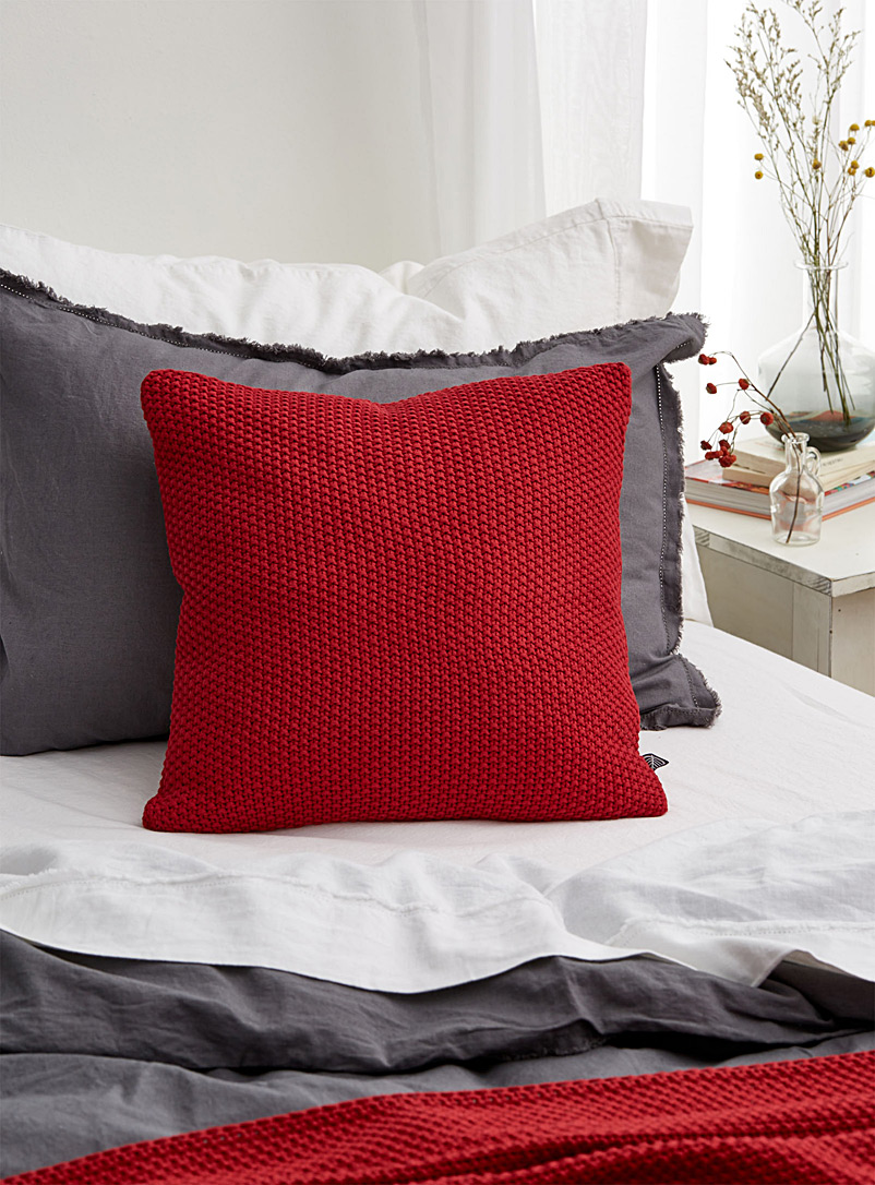 Coloured knit cushion  45 x 45 cm - Cushions - Red