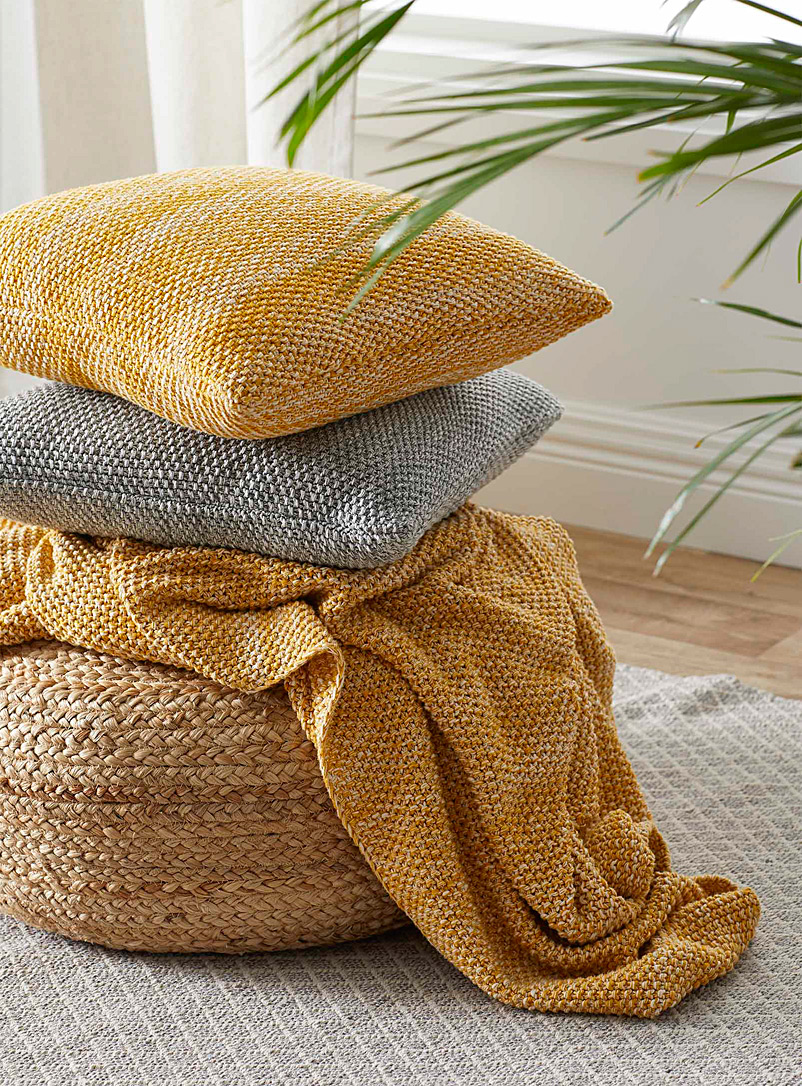 Coloured knit cushion  45 x 45 cm - Cushions - Medium Yellow