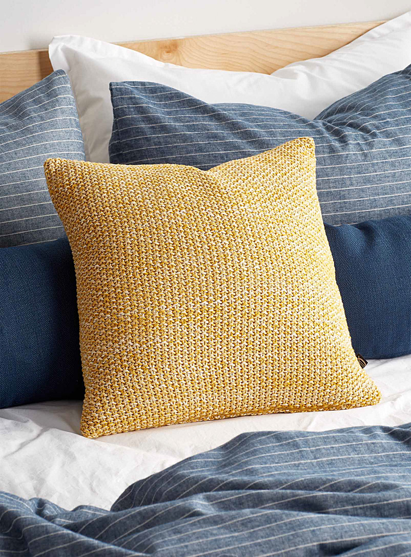 Simons Maison Medium Yellow Cozy knit cushion 45 x 45 cm