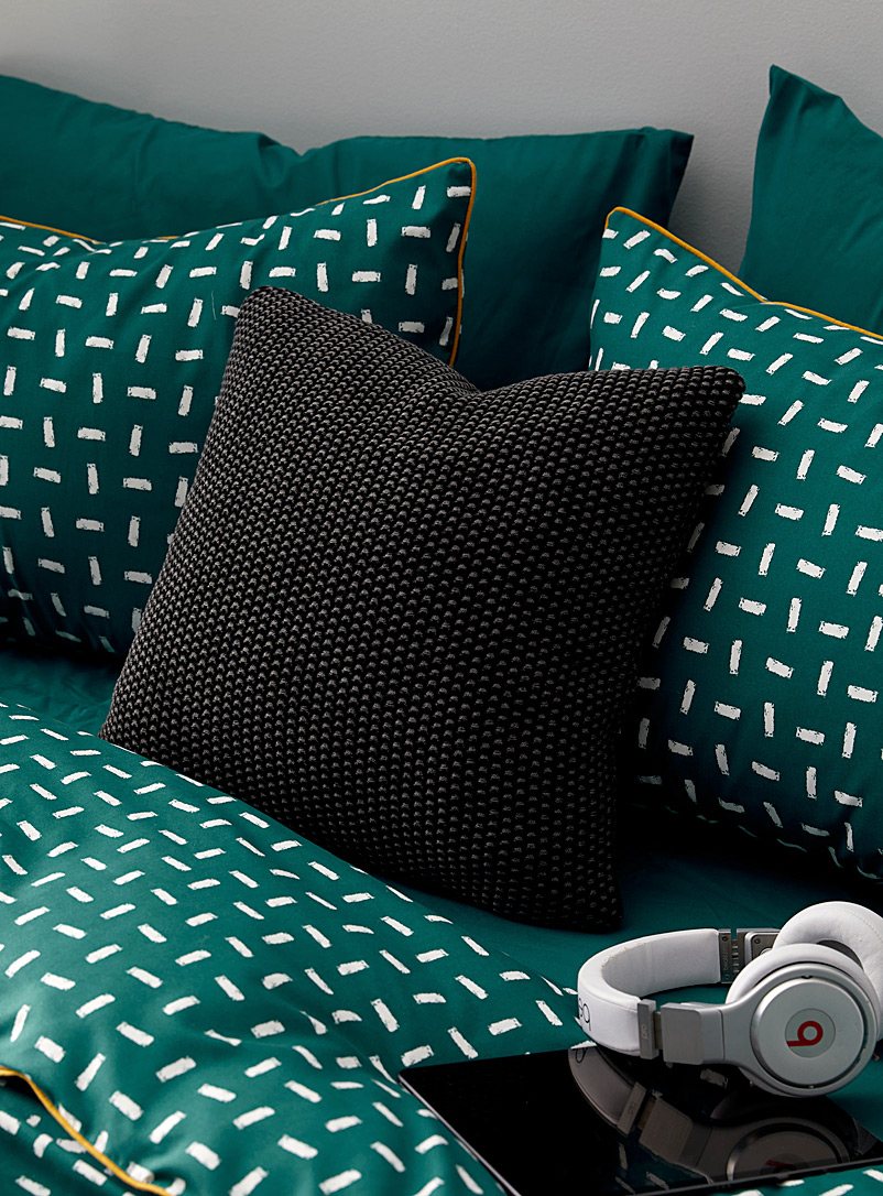 Marled knit cushion  45 x 45 cm - Solid - Black