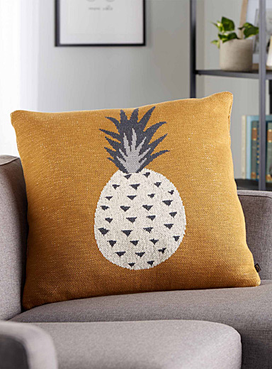 Le coussin tricot ananas <br>60 x 60 cm