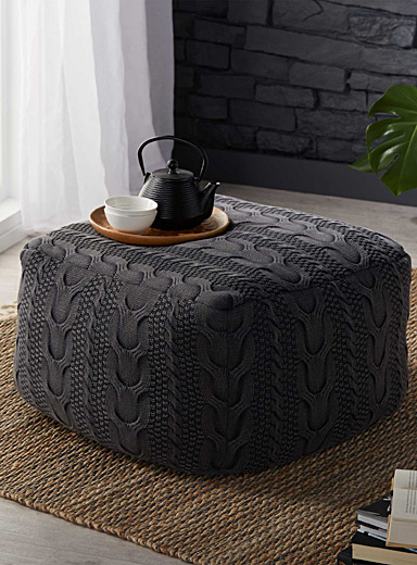 Cozy knit pouf