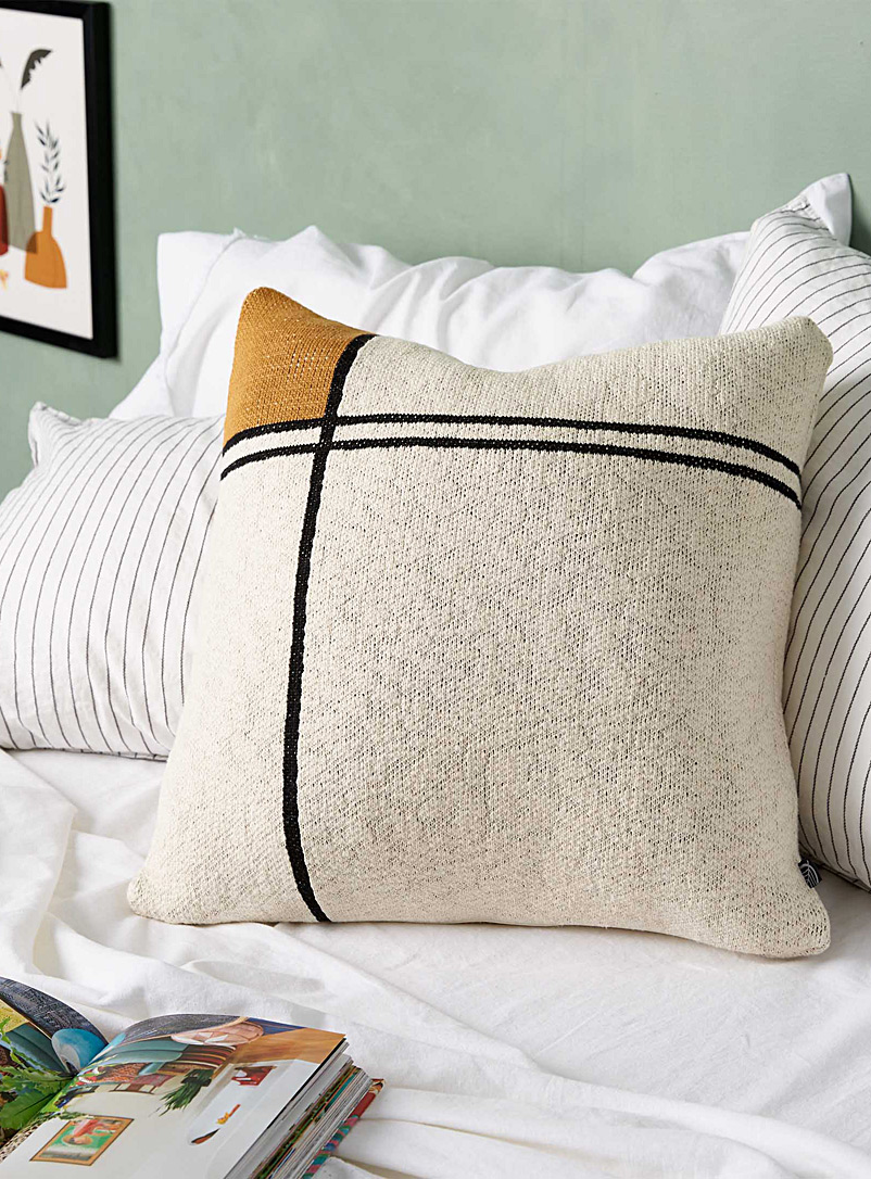 Simons Maison Assorted Ochre modern art cushion  50 x 50 cm