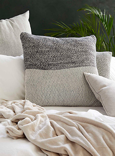 Simons Maison Dark Grey Garter stitch cushion  60 x 60 cm