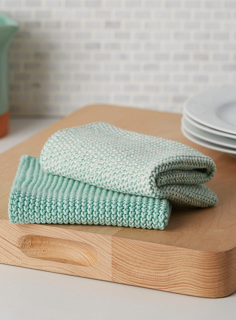 Knitted cleaning cloths  Set of 2 - Kitchen Linens - Lime Green