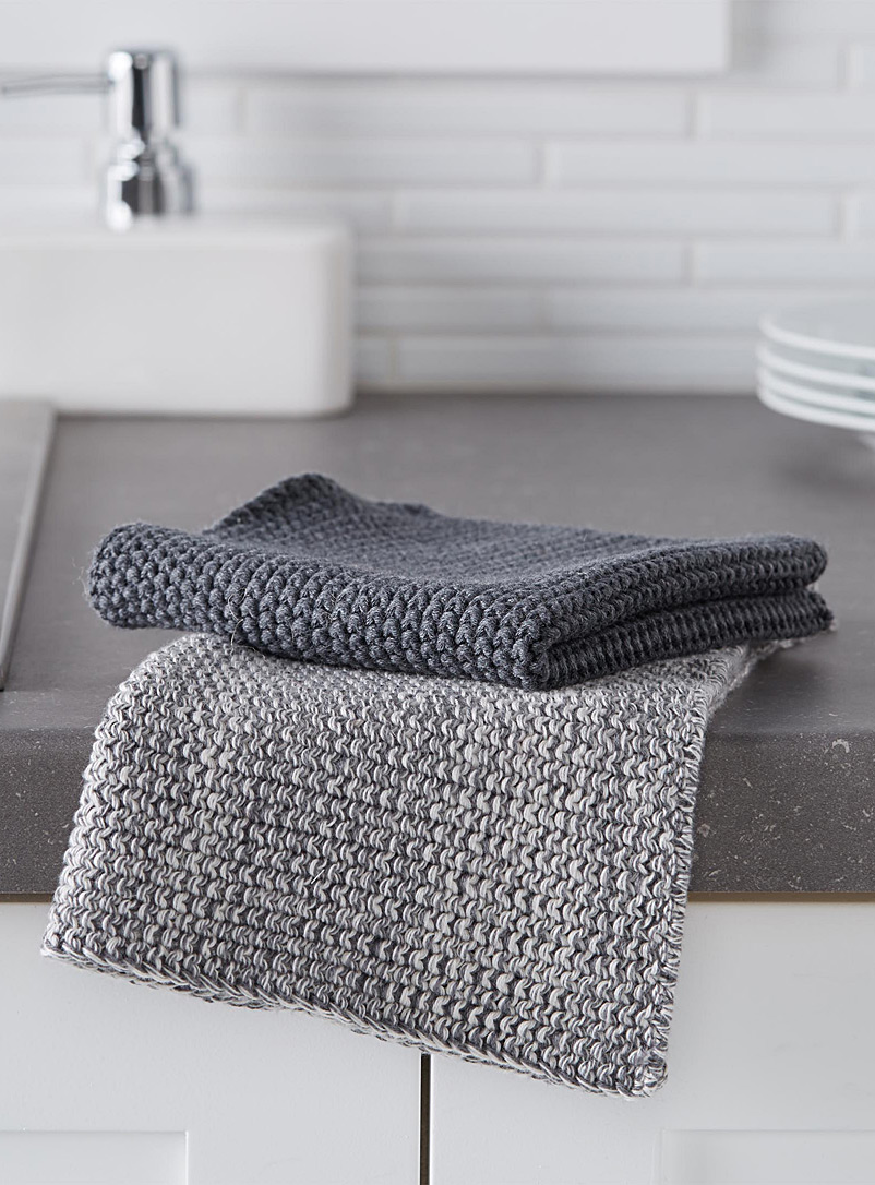 Knitted cleaning cloths  Set of 2 - Kitchen Linens - Patterned Grey
