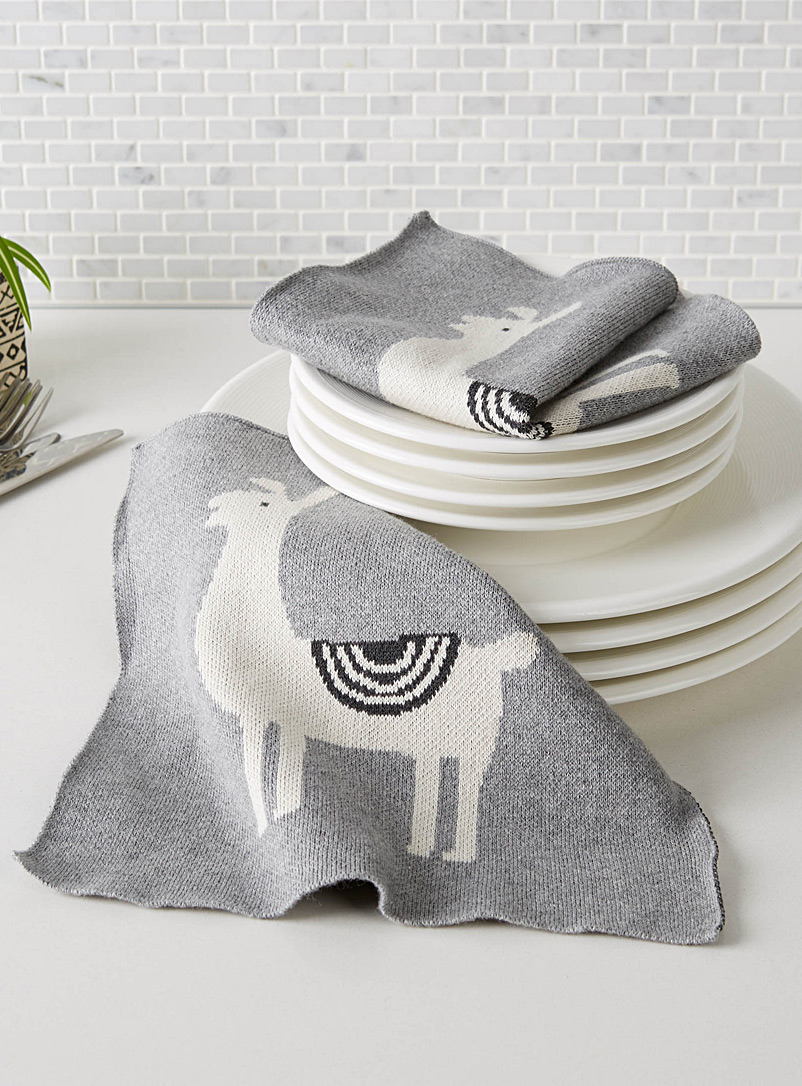 Simons Maison Patterned Grey Llamas knitted cleaning cloths  Set of 2