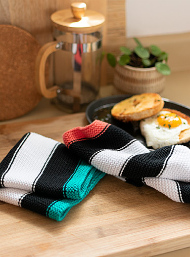 Simons Maison Assorted Accent stripe knitted cleaning cloths  Set of 2