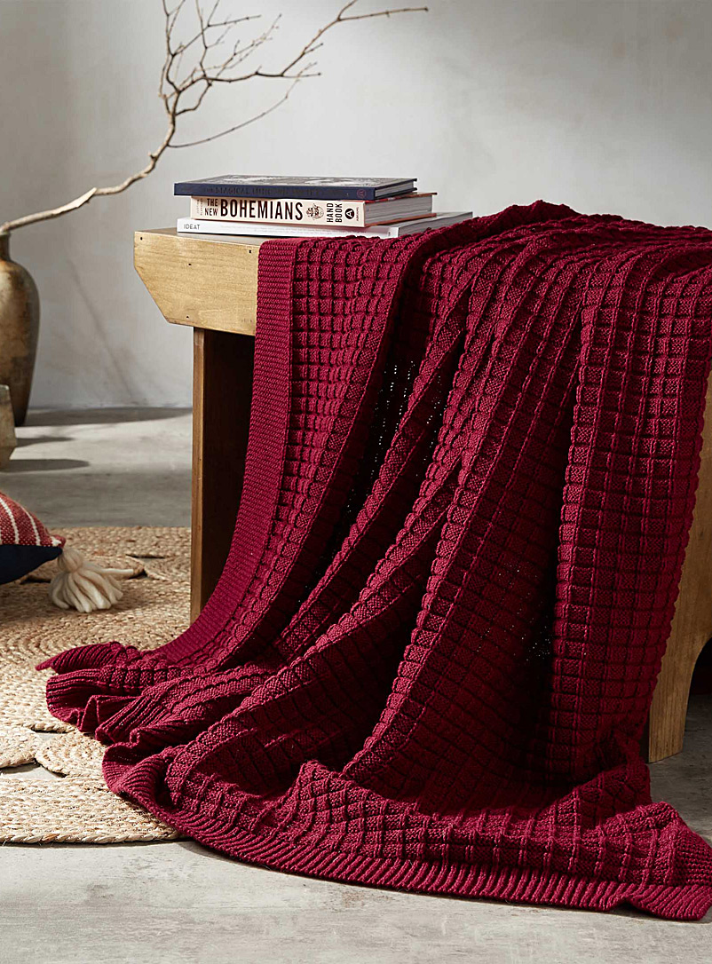 Checkered knit throw  130 x 150 cm - Throws - Ruby Red