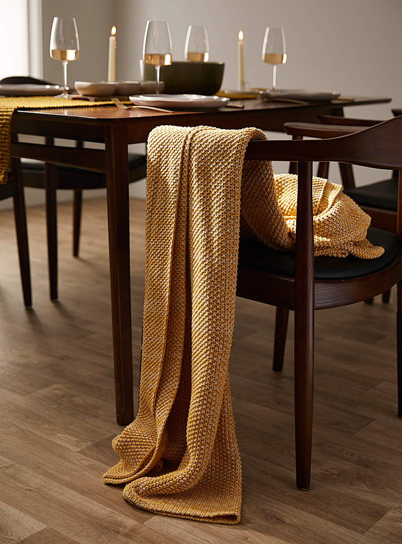 Simons Maison Medium Yellow Marled knit throw  130 x 150 cm
