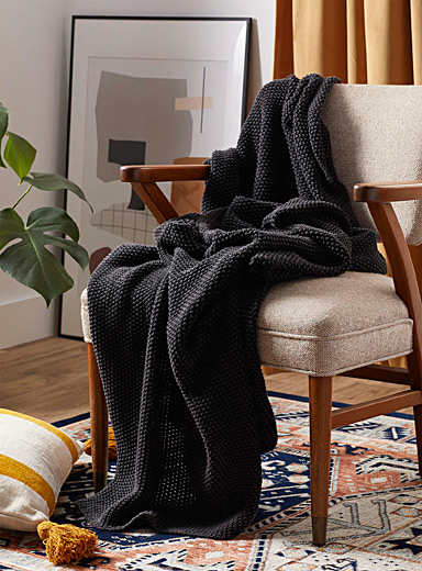 Simons Maison Black Faded knit throw  130 x 150 cm