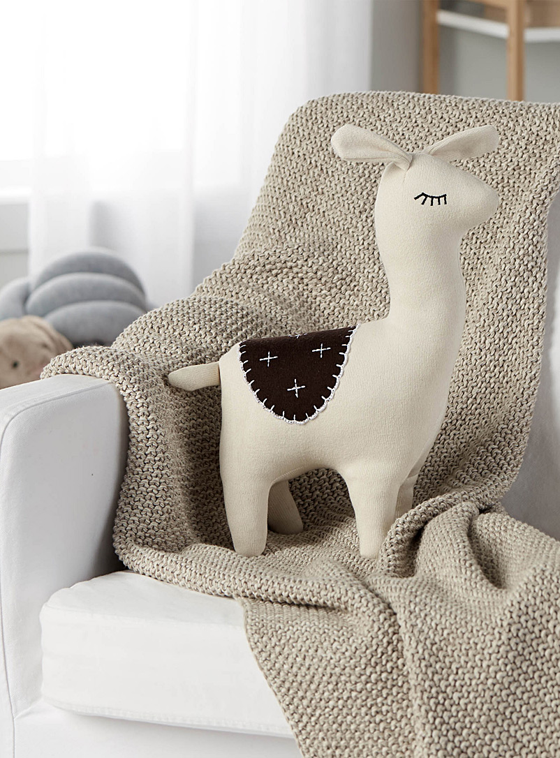 Llama plush cushion  15&quote; x 10&quote; - Cushions - Ivory White