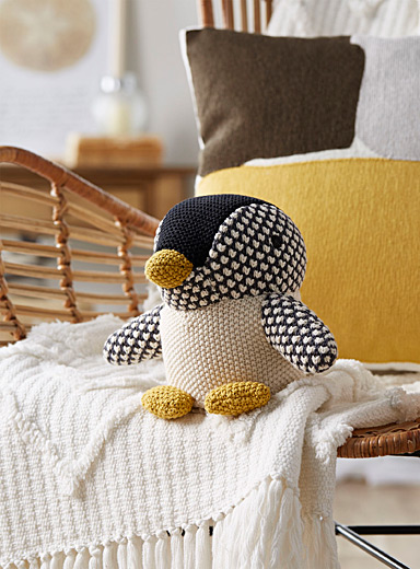Penguin knit cushion  11&quote; x 8&quote;