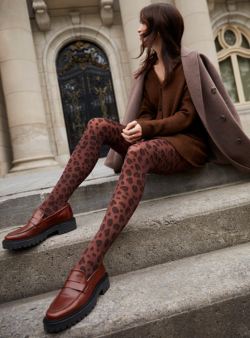 Simons Brown Brown leopard-print tights for women