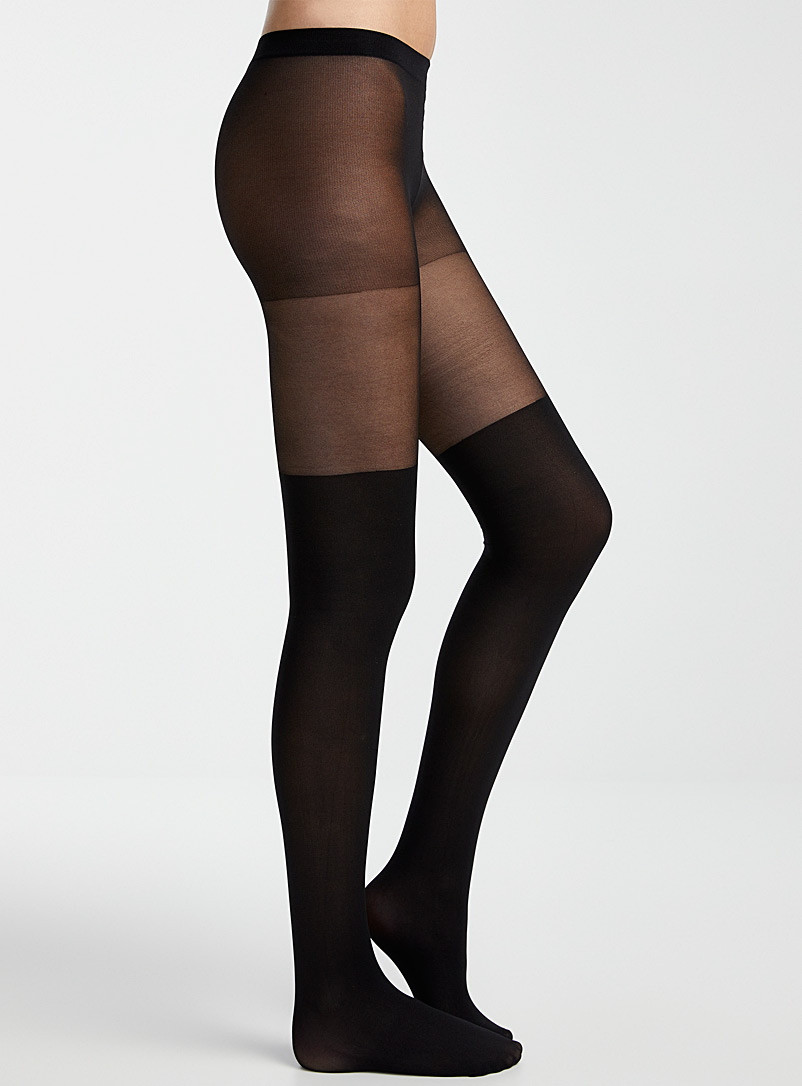 Simons Black Illusion thigh-high tights for women