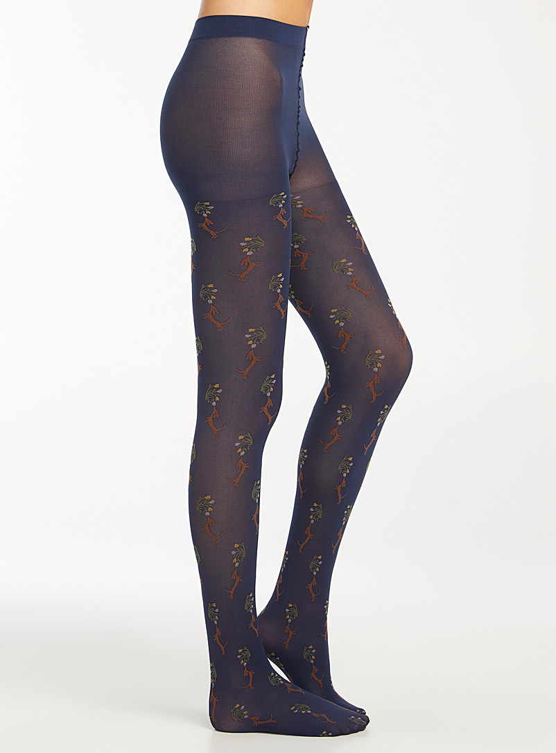 Simons Patterned black Adorable dachshund tights for women