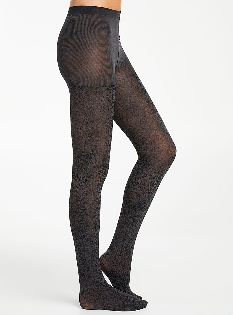 Simons Charcoal Baroque arabesque tights for women