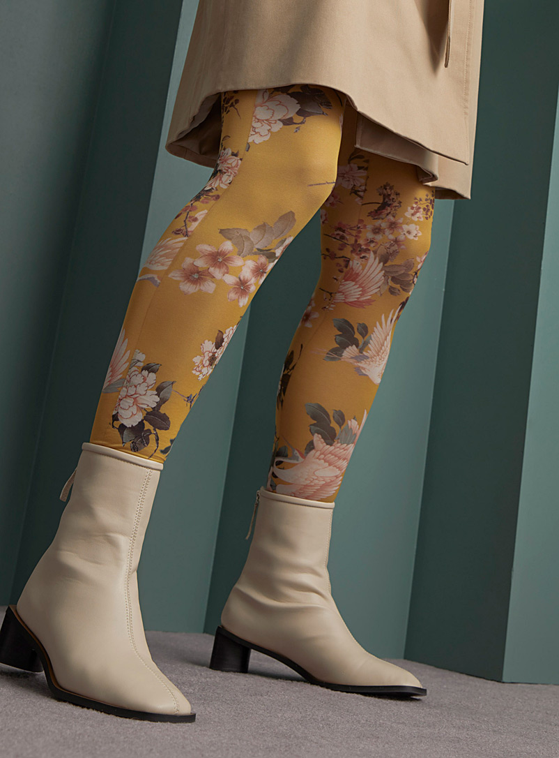 Simons Golden Yellow Colourful floral tapestry tights for women