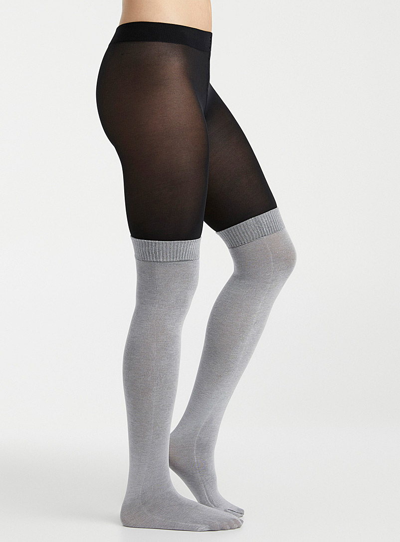 Simons Black Built-in knee-high tights for women