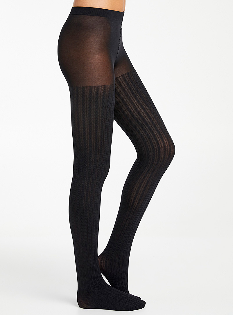 Simons Black Vertical twist tights for women