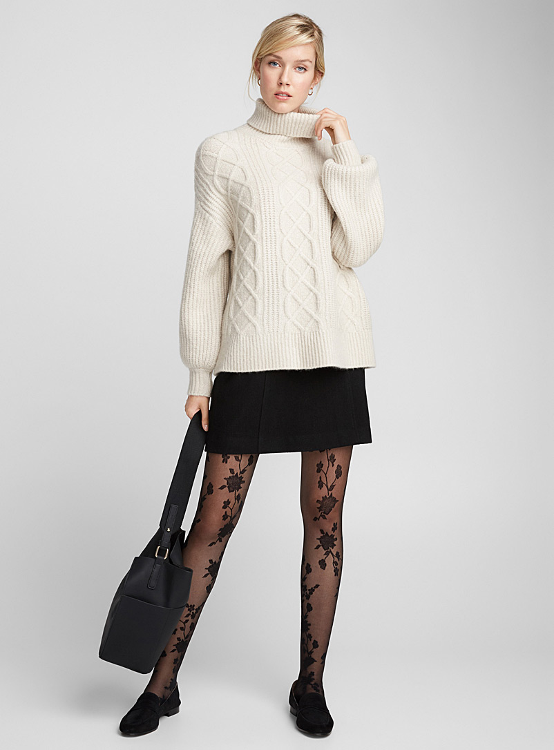 Floral branches stay-ups - Patterned Tights - Black
