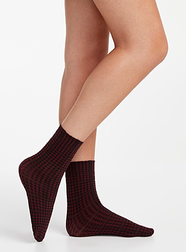 Solid and houndstooth ankle socks  Set of 2