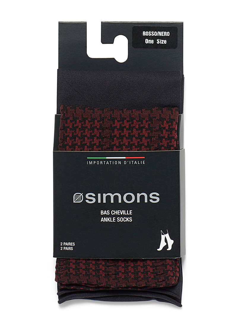 Simons Assorted grey Solid and houndstooth ankle socks  Set of 2 for women