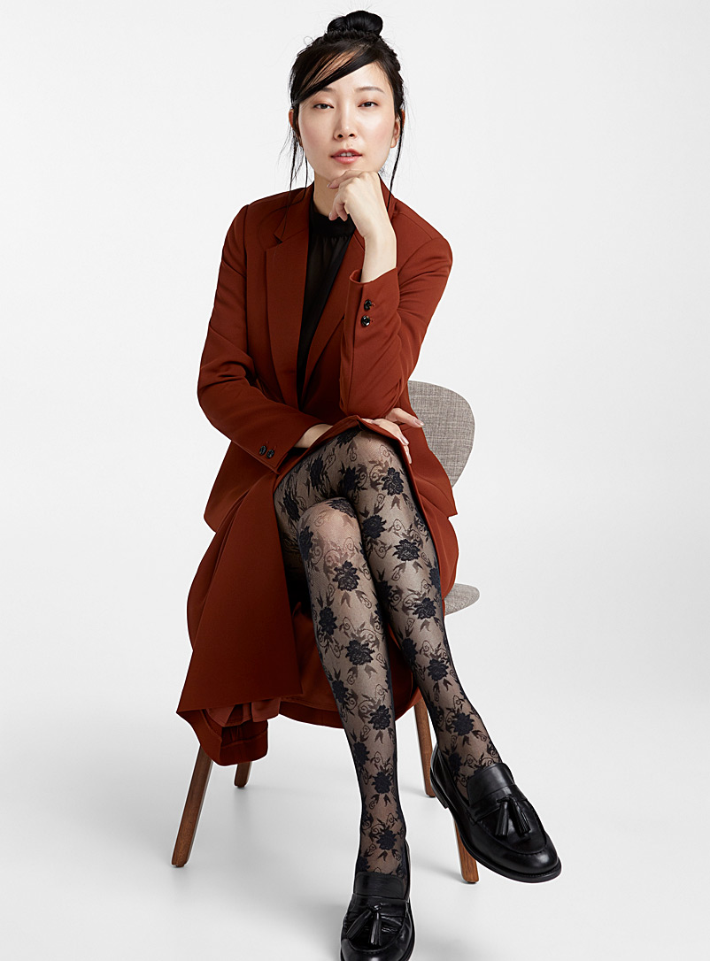 Floral lace pantyhose - Patterned Tights - Black
