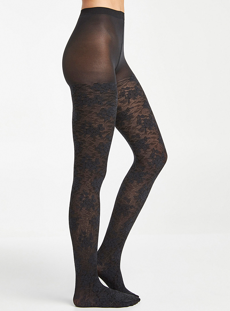Simons Charcoal Floral lace tights for women