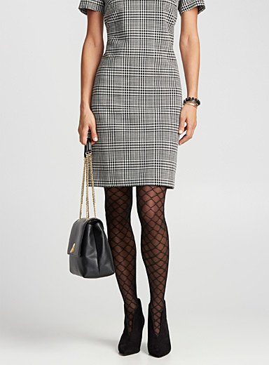 Fishnet-style semi-opaque stockings