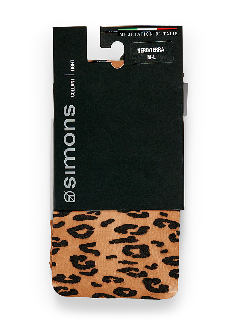 Leopard-print pantyhose - Patterned Tights - Light Brown
