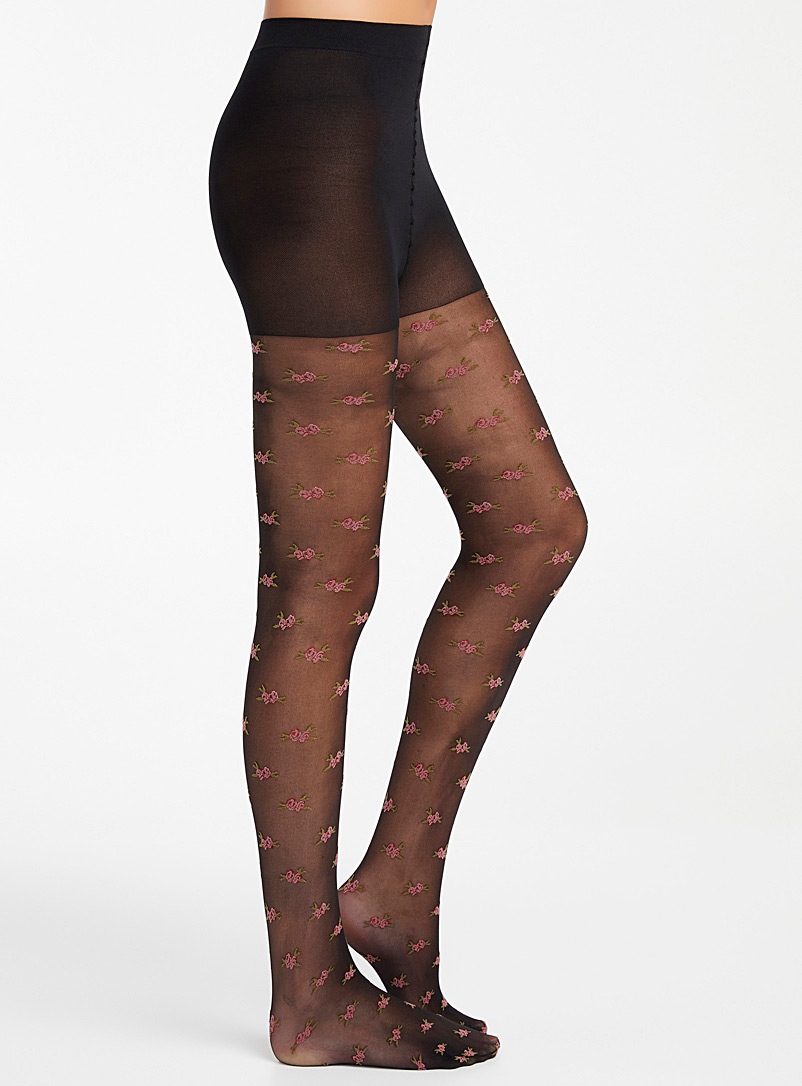 Simons Patterned black Rose button pantyhose for women