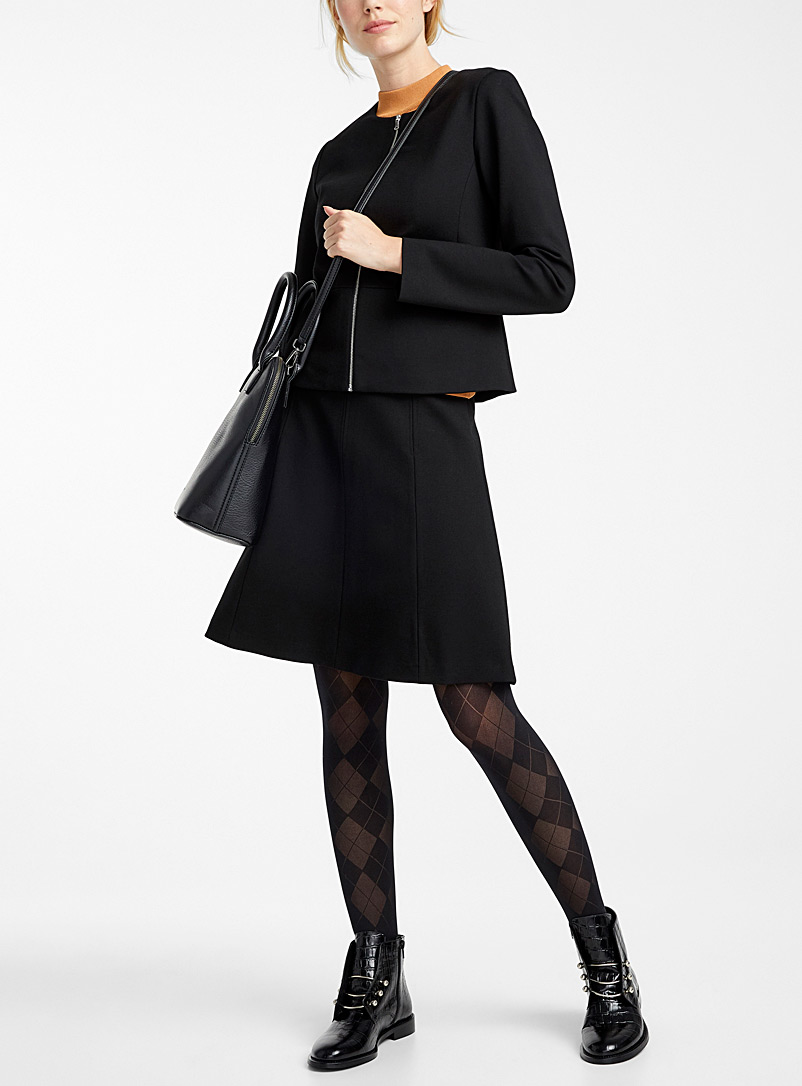 Checkered pantyhose - Patterned Tights - Black