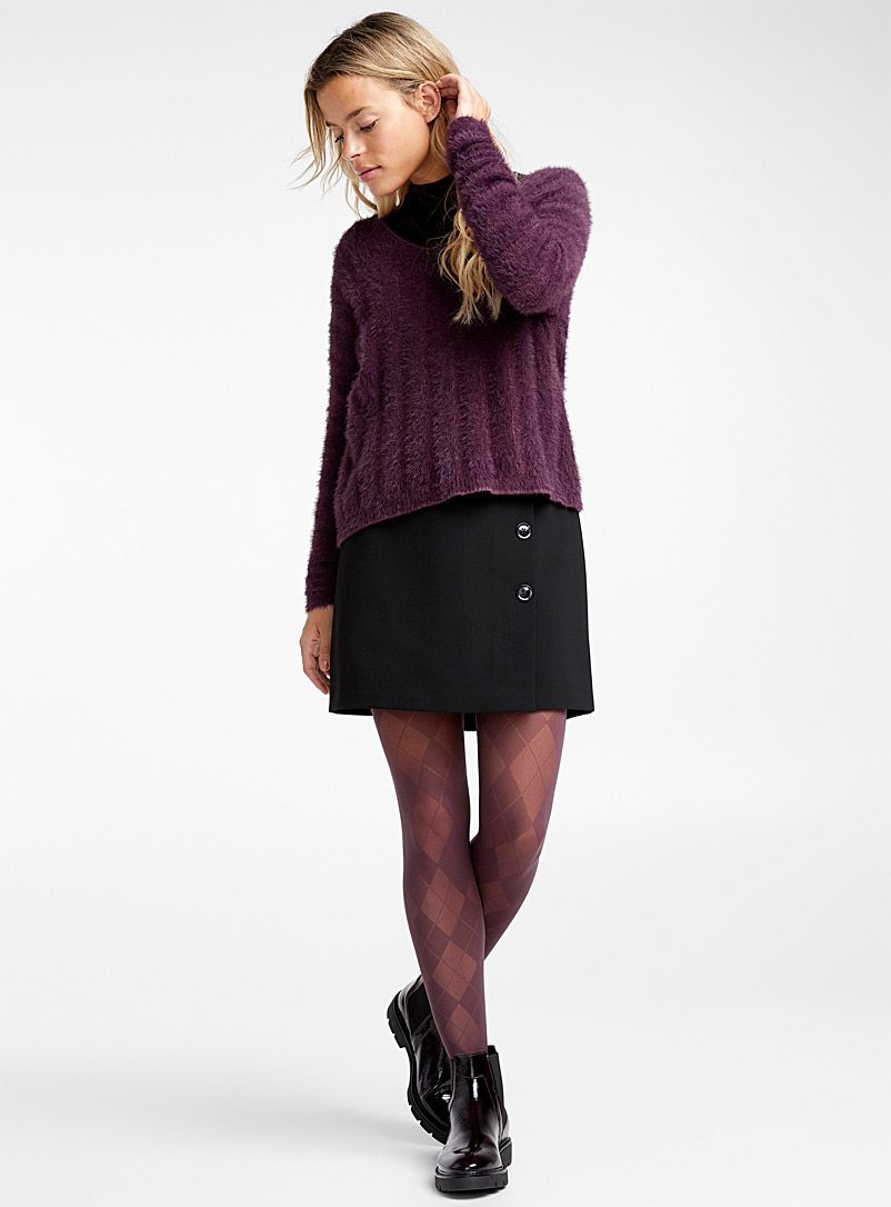 Checkered pantyhose - Patterned Tights - Mauve