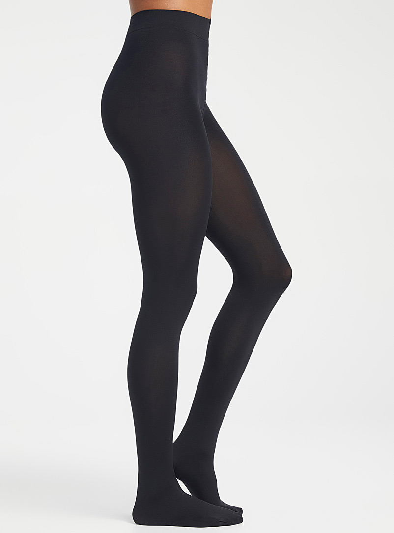 Simons Black Solid essential tights for women