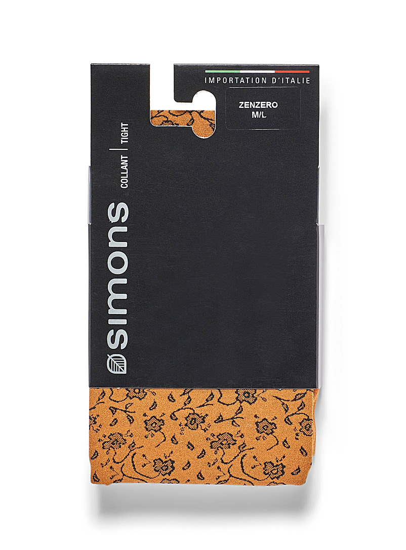 Simons Black Floral tapestry tights for women