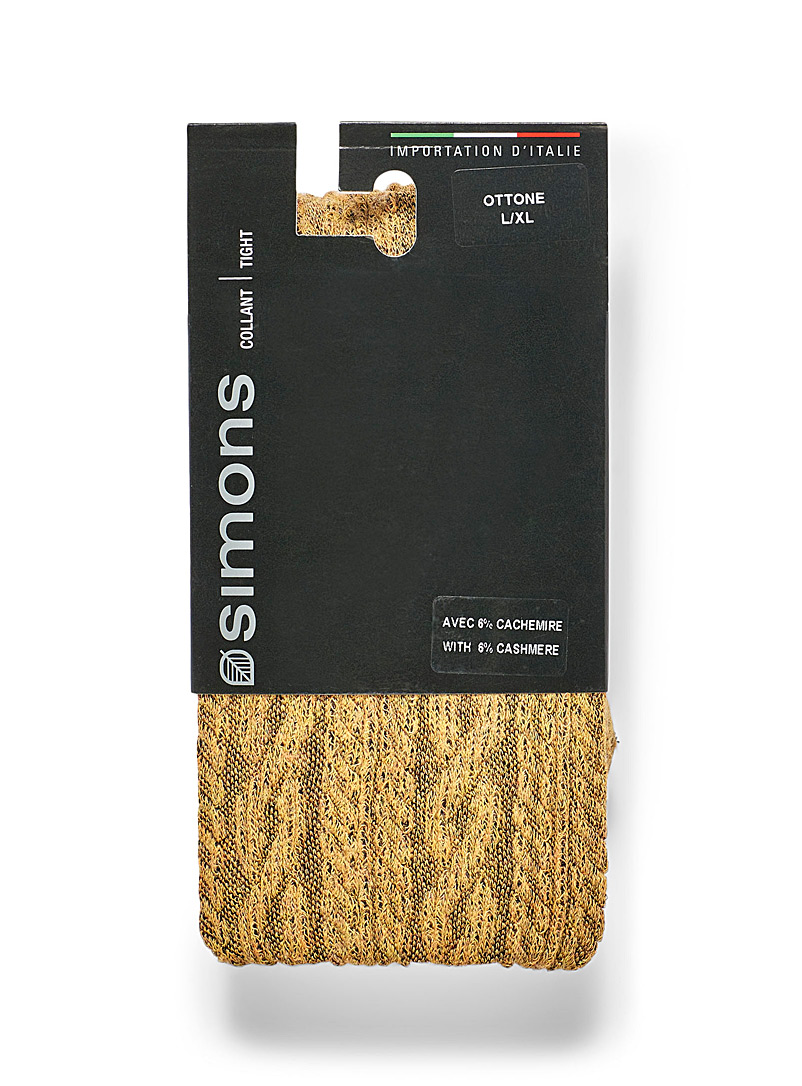 Simons Yellow Twisted-cable knit tights for women