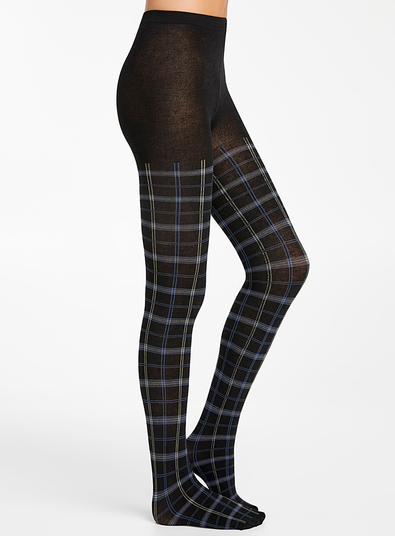 Simons Black Warm check tights for women
