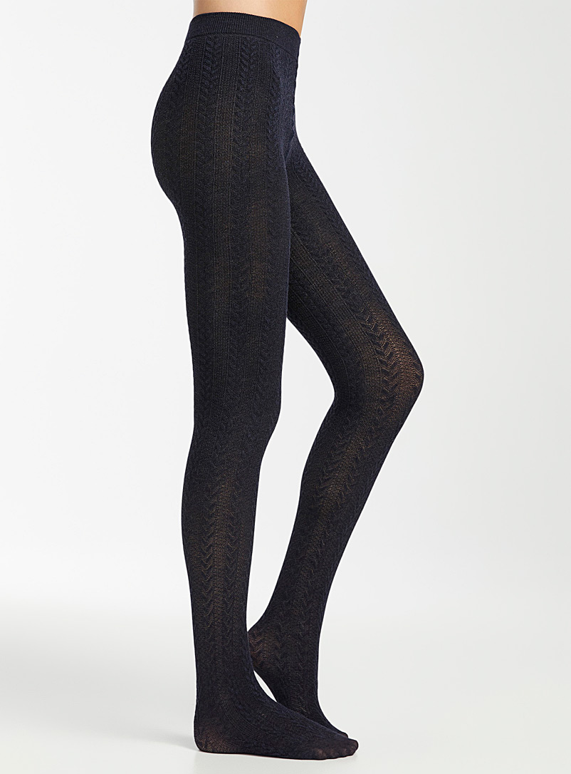 Simons Dark Blue Cashmere-touch twisted tights for women
