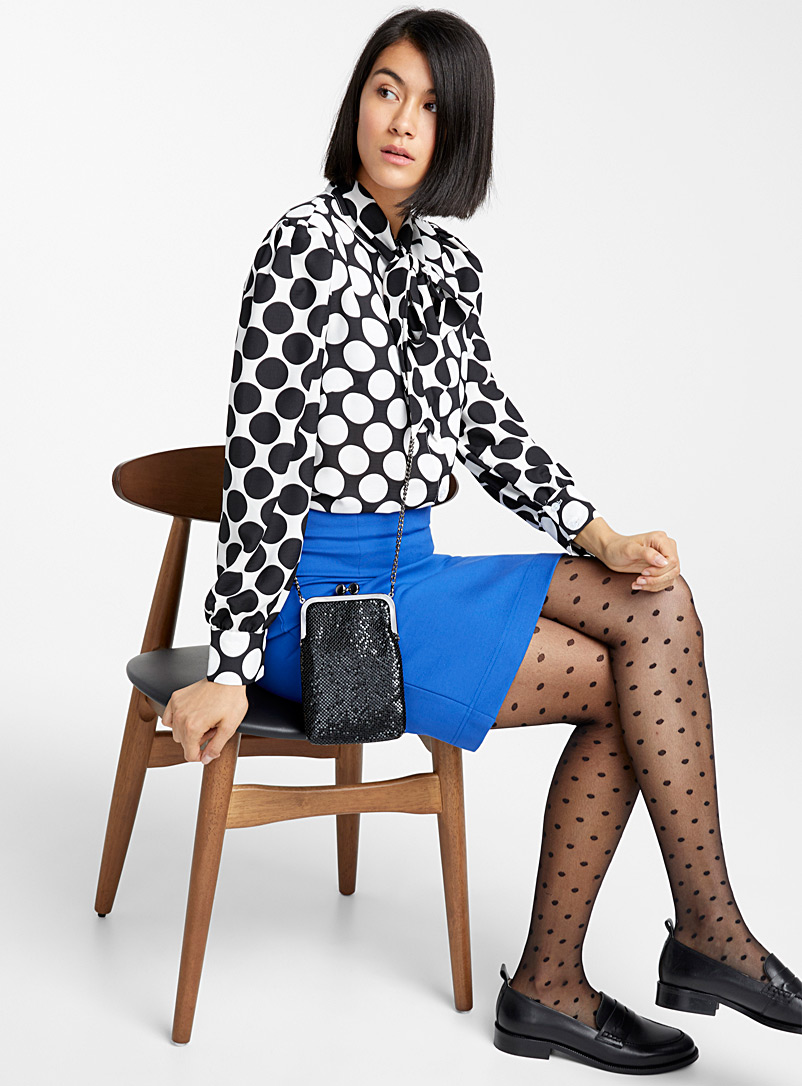 Simons Marine Blue Dotted sheer pantyhose for women