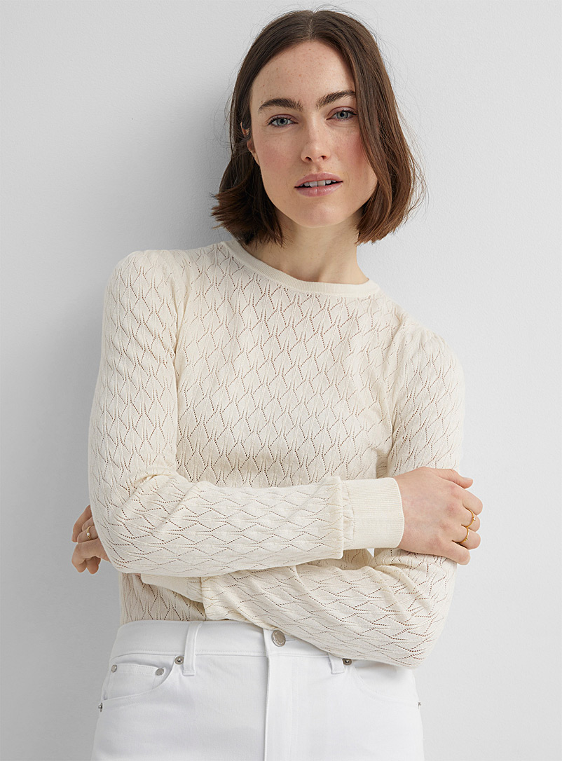 Soaked in Luxury: Le pull pointelle Menika Ivoire blanc os pour femme