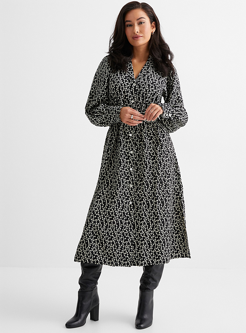 FRNCH Black and White Abstract garden belted shirtdress for women