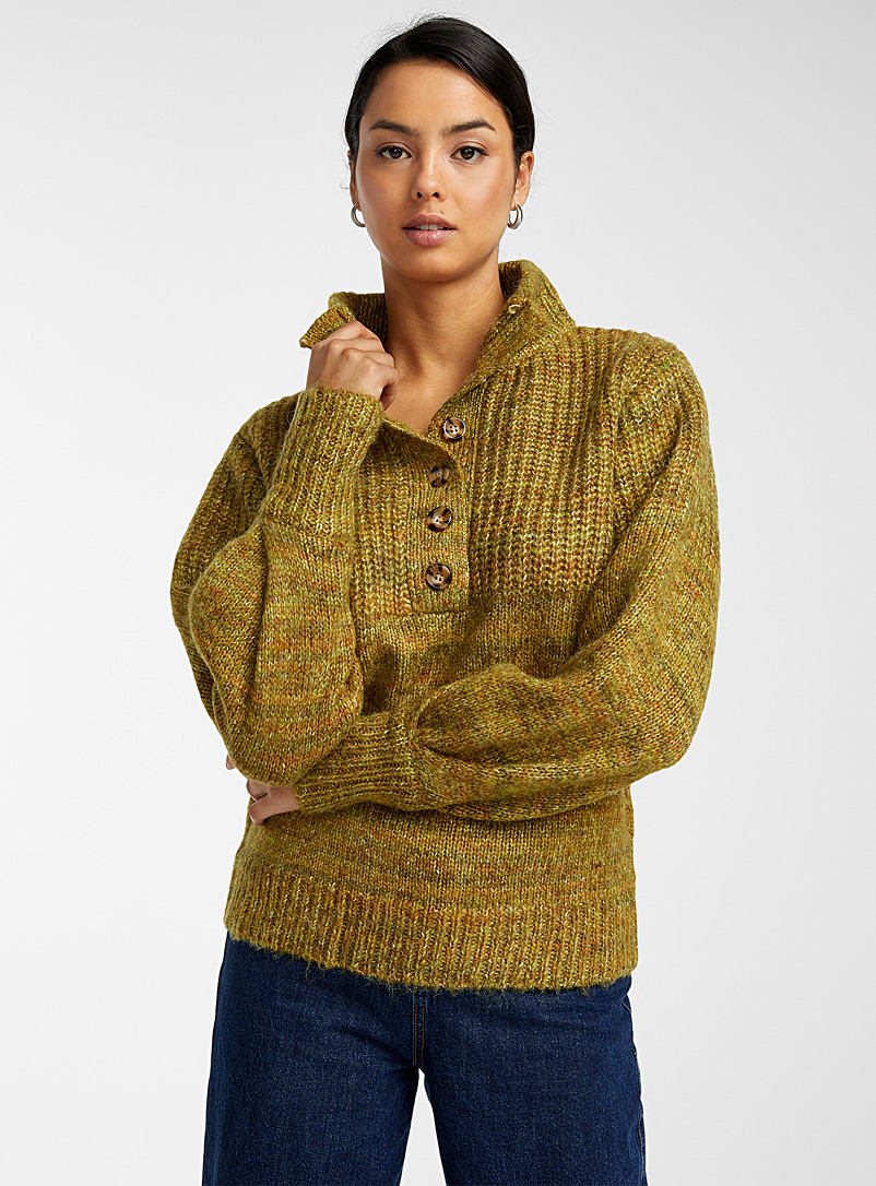 FRNCH Golden Yellow Ribbed mock-neck button sweater for women